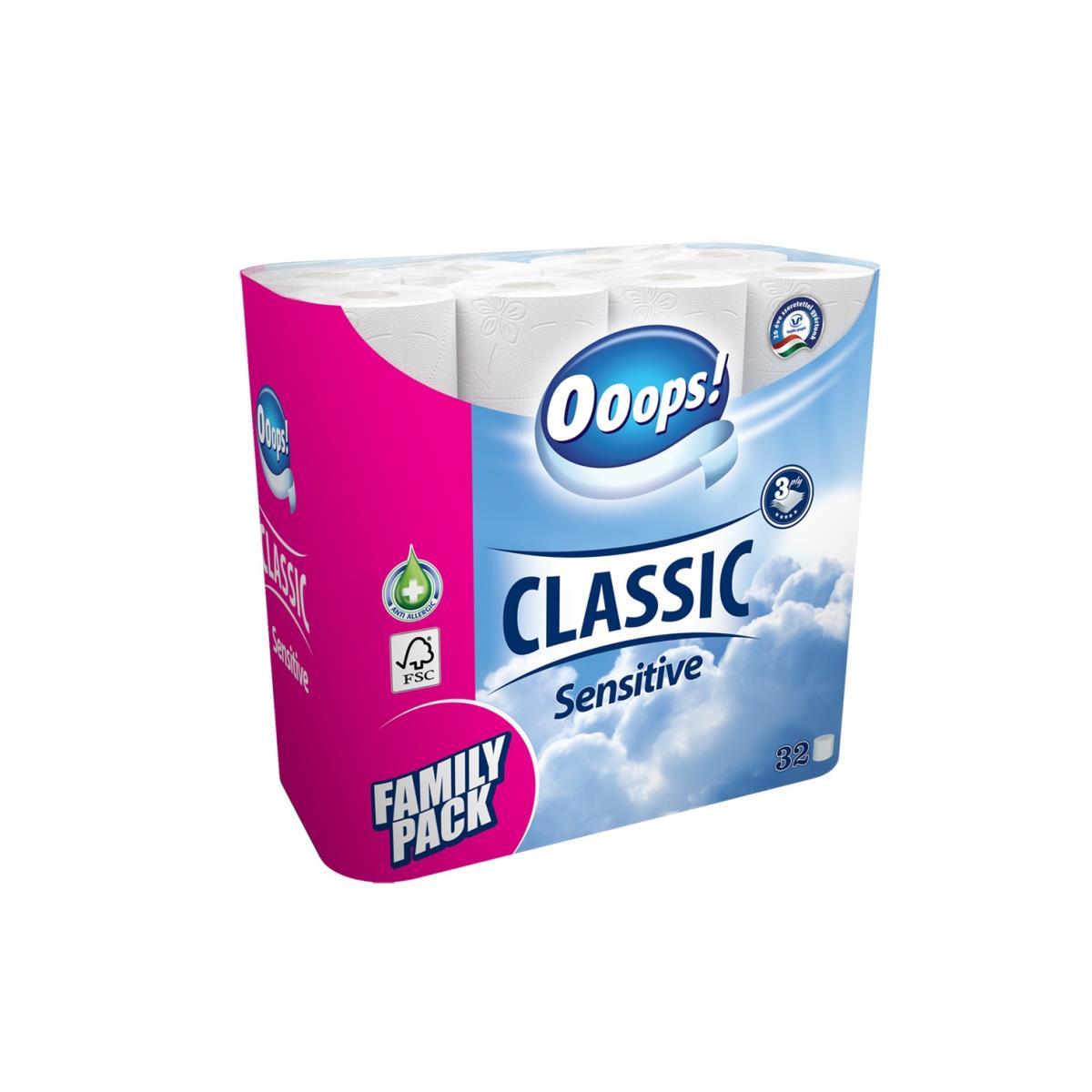Toilettenpapier 32 Rollen 3 Lagig 125 Blatt Toilette Papier FamilyPack Ooops!,Ooops!,000040036793, 5998648704341