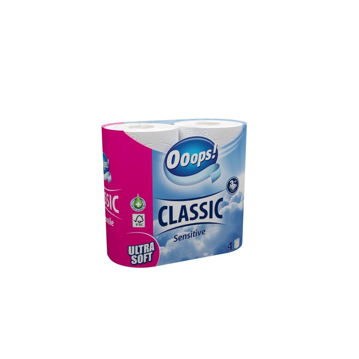 Toilettenpapier 4 Rollen 3 Lagig 140 Blatt Toilette Papier Ooops! Classic,Ooops!,000040036787, 5998648704303
