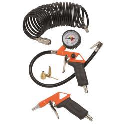 Aufblaspistole Druckluftpistole 6-tlg. Set Luftdruckmesser Druckluftschlauch