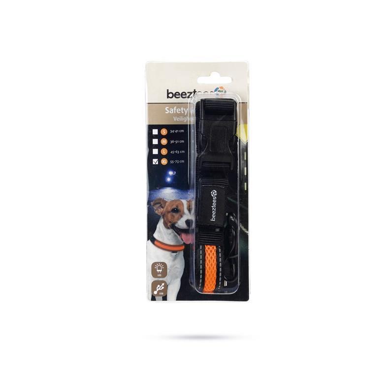 Hunde Halsband Sicherheitshalsband LED Leuchthalsband mit USB Anschluss,Beeztees,000051341588, 8712695147848