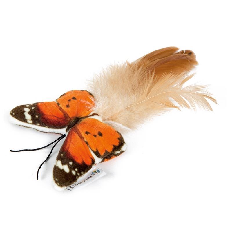 Katzenspielzeug Schmetterling Spielzeug Plüsch mit Federn und Knisterfolie,Beeztees,0440621, 8712695155119