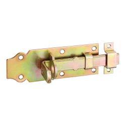 Schlossriegel mit Schlaufe und flachem Griff 100x44mm gelb verzinkt, GAH 116750