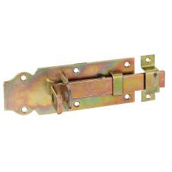 Schlossriegel mit Schlaufe und flachem Griff 140x52mm gelb verzinkt, GAH 116774