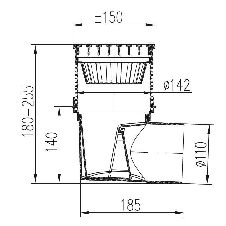 Hofablauf 150 x 150 mm Kellerablauf Balkonablauf Bodenablauf Carport frostsicher,chud,324 S, 8595587400753