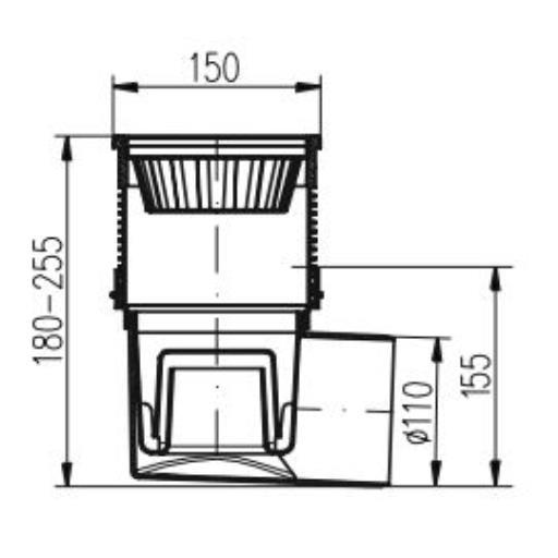 Hofablauf Gußeisenrost 150x150mm Balkonablauf Badablauf Bodenablauf Kellerablauf,chud,324 V Li, 8595587402559