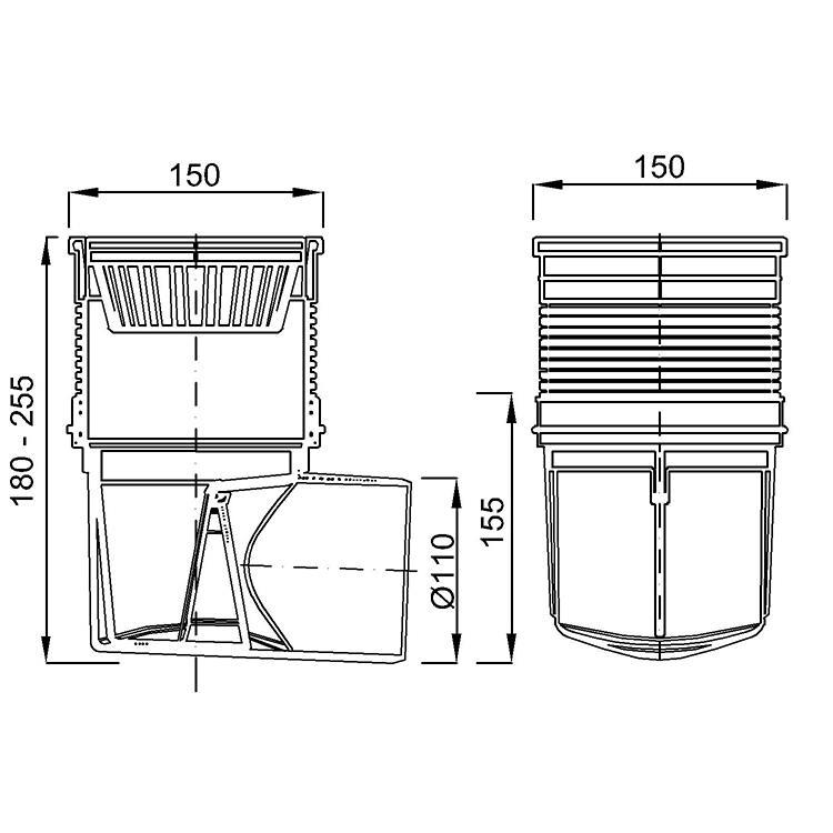 Hofablauf Edelstahrost 150x150mm Balkonablauf Badablauf Bodenablauf Kellerablauf,chud,324 S N, 8595587401231