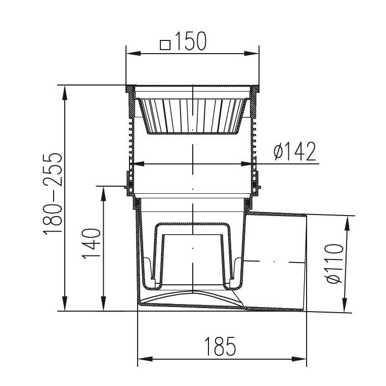 Hofablauf Edelstahrost150x150mm Balkonablauf Badablauf Bodenablauf Kellerablauf,chud,324 V N, 8595587401248