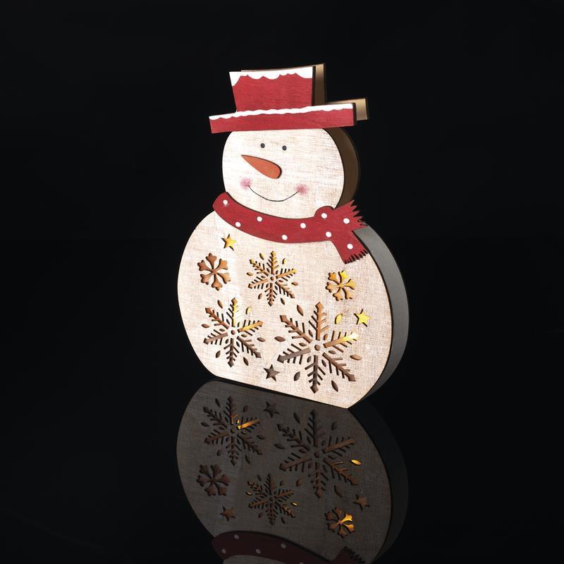 LED Weihnachts Schneemann aus Holz Weihnachten Advent Weihnachtsdeko,Emos,ZY2331, 8592920086858