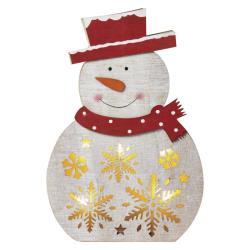 LED Weihnachts Schneemann aus Holz Weihnachten Advent Weihnachtsdeko