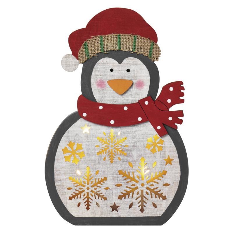 LED Weihnachts Pinguin aus Holz Weihnachten Advent Weihnachtsdeko,Emos,ZY2332, 8592920086872