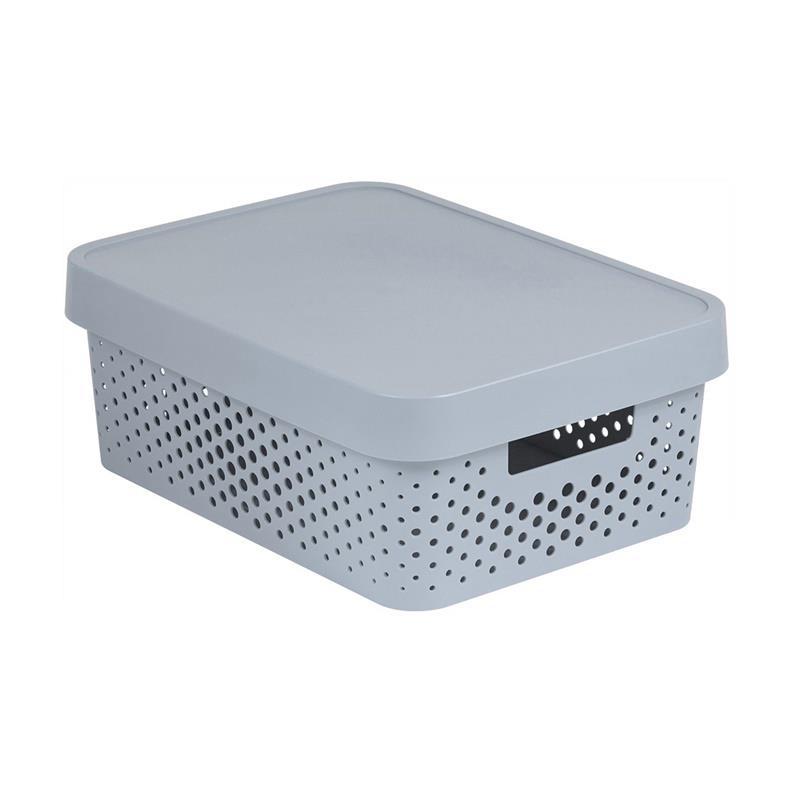 CURVER INFINITY Aufbewahrungsbox mit Deckel 11l, 36 x 27 x 14cm Plastik hellgrau,CURVER,229163, 3253924753065