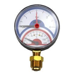 "Thermometer Manometer Untergewinde AG 1/2"" Zoll Thermomanometer 120°C bis 4 Bar"