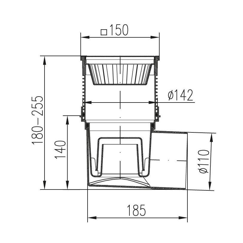 Hofablauf 150 x 150 mm Kellerablauf Balkonablauf Bodenablauf + Geruchsverschluß,chud,324 V, 8595587400760