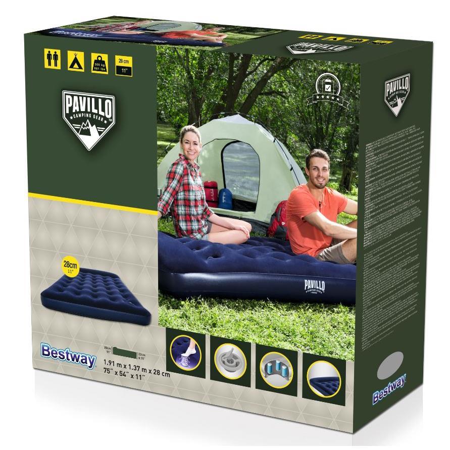 Pavillo Luftbett eingebaute Fußpumpe Bett Luftmatratze Gästebett 191x137x28cm,Bestway,67225, 6942138916317