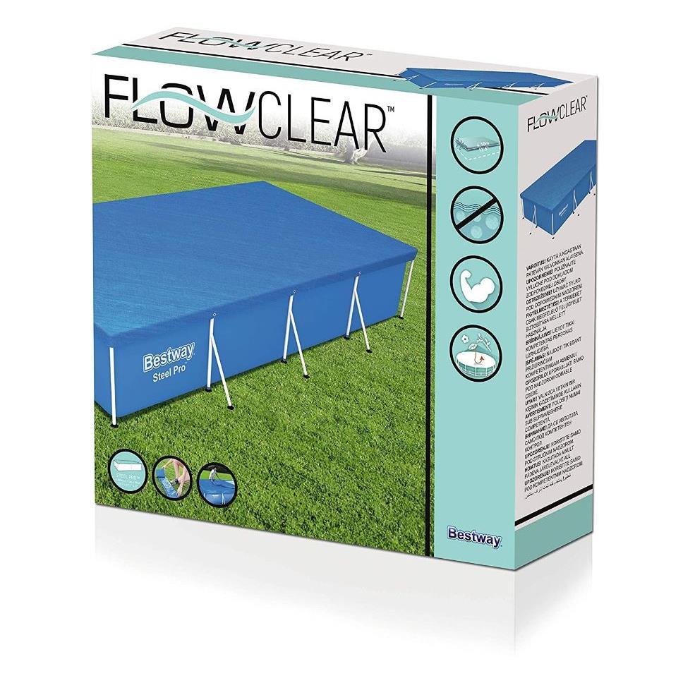 Flowclear Pool Abdeckplane Plane 410 x 226 cm / für eckige Pools 400 x 211 cm ,Bestway,58107, 6942138918502