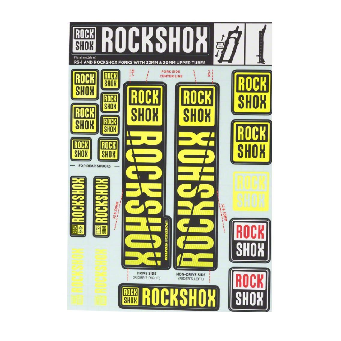 RockShox Aufklebersatz Ø30/32mm & RS1 Federgabeln Fahrrad Kit Neongelb Deko Set,RockShox,11.4318.003.498, 710845803765
