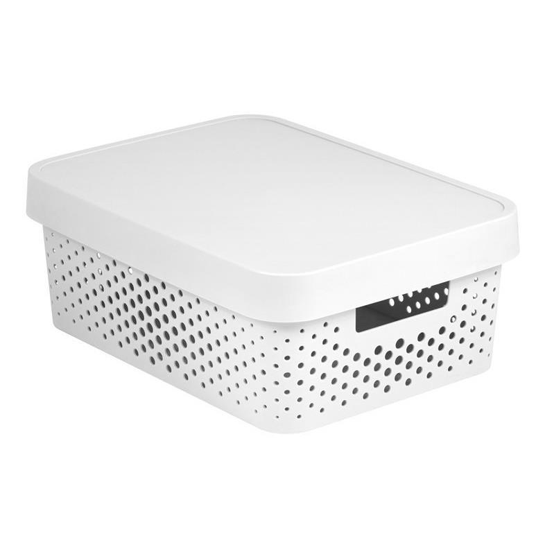 CURVER INFINITY Aufbewahrungsbox mit Deckel 11L, 36 x 27 x 14cm Plastik weiß,CURVER,04753-N23-00, 3253924753089