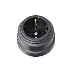 Aufputz Steckdose mit Schutzkontakt Schwarz 16A, 230 V Steckdosen Schuko Retro