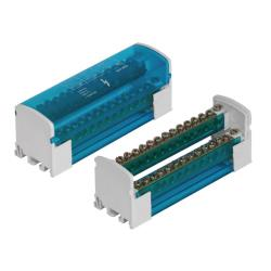Verbindungsklemme 2x15 Verteilerblock 2-reihig Schraubklemme für Hutschiene TH35