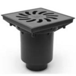 2 x Hofablauf Kellerablauf Geruchsverschluss Gusseisengitter 245x245 mm
