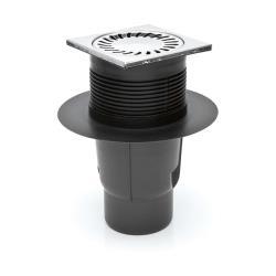 Hofablauf Kellerablauf Balkonablauf Geruchsverschluss Edelstahlgitter 150x150 mm
