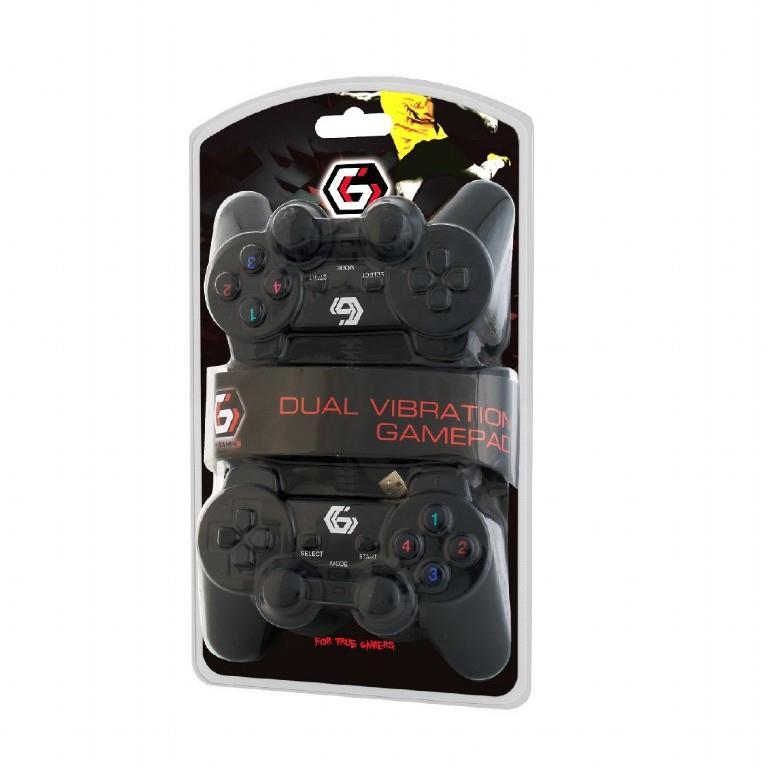 Gembird Double USB Gamepad mit Dual-Vibration 2 Gamepad über USB zum PC Notebook,Gembird,JPD-UDV2-01, 8716309087612