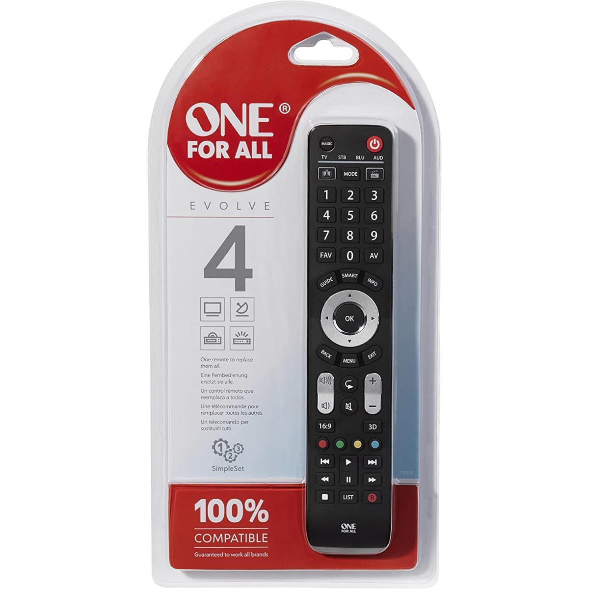 One For All Evolve 4 Universal Fernbedienung - Steuerung von 4 Endgeräten,One For All,URC7145, 8716184065477
