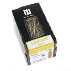 400x Holzschrauben Schrauben 4,5 x 50 mm Spanplattenschrauben Kreuzschlitz PZ2