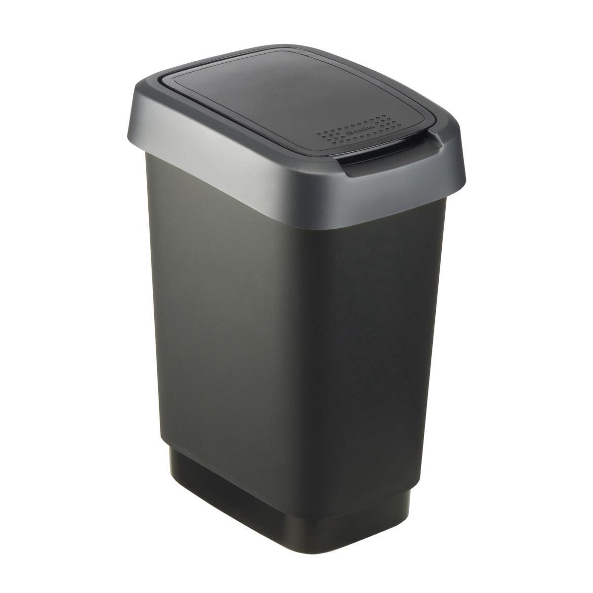 Rotho Twist Mülleimer 10L mit Deckel als Schwing oder Klappdeckel nutzbar,ROTHO,000051337510, 7610859135360