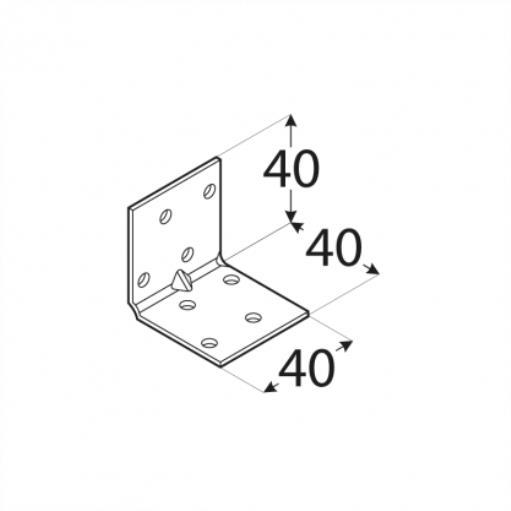 50x Lochplattenwinkel mit kleiner Sicke 40x40x40mm Winkelverbinder Stuhlwinkel ,Domax,4131, 0685293809044