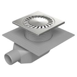 Edelstahl Hofablauf 150 x 150 mm Bodenablauf Siphon höhenverstellbar geringe Höh