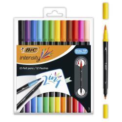 Bic Intensity Dual Brush Pens Filzstifte Pinselstifte Fasermaler 12er