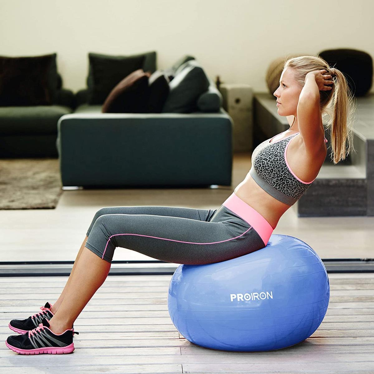 PROIRON Gymnastikball Ø65cm mit Pumpe Übung Yoga Balance Ball Pezziball Sitzball,PROIRON,PRO-YJ01-4, 6942590000296