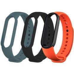 3-Pack Xiaomi Mi Smart Band 5 Band Strap Schwarz, Orange, Cyan