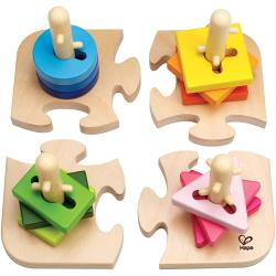 Hape Kreatives Steckpuzzle Motorikspielzeug aus Holz, ab 18 Monate