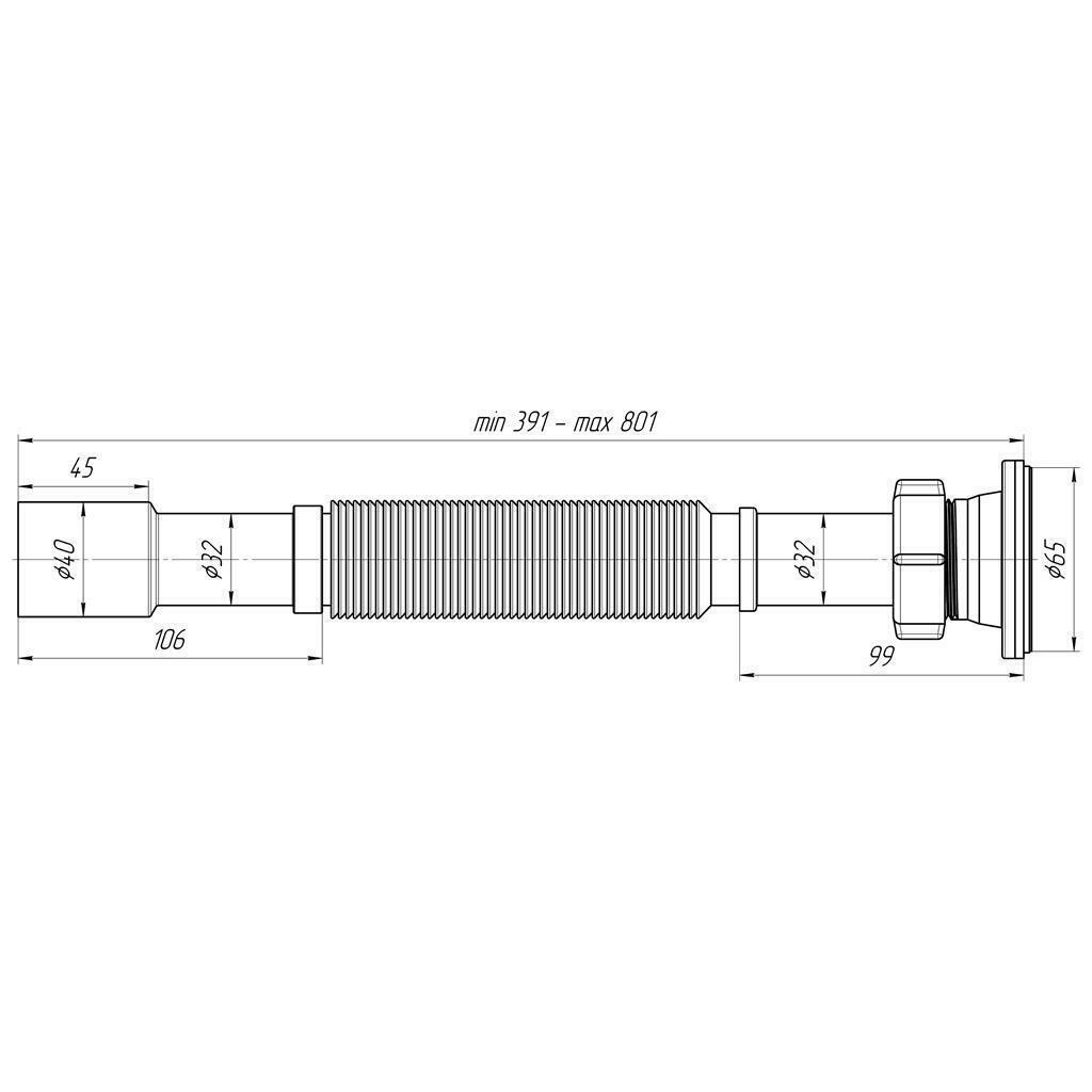 """Spülen Siphon Sifon flexibler Ablaufschlauch 1 1/4""""x32/40 Länge 391-801mm,Ani Plast,G207EU, 4779037101108"""