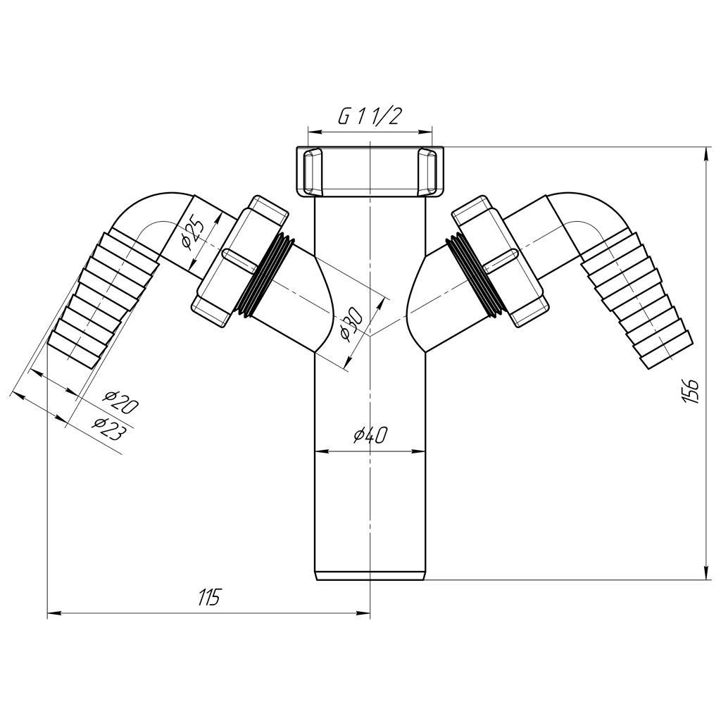 """Tauchrohr 1 1/2""""x40mm mit 2x Geräteanschluss Rückschlagventil Waschmaschine,Aniplast,M145EU, 4779037106691"""