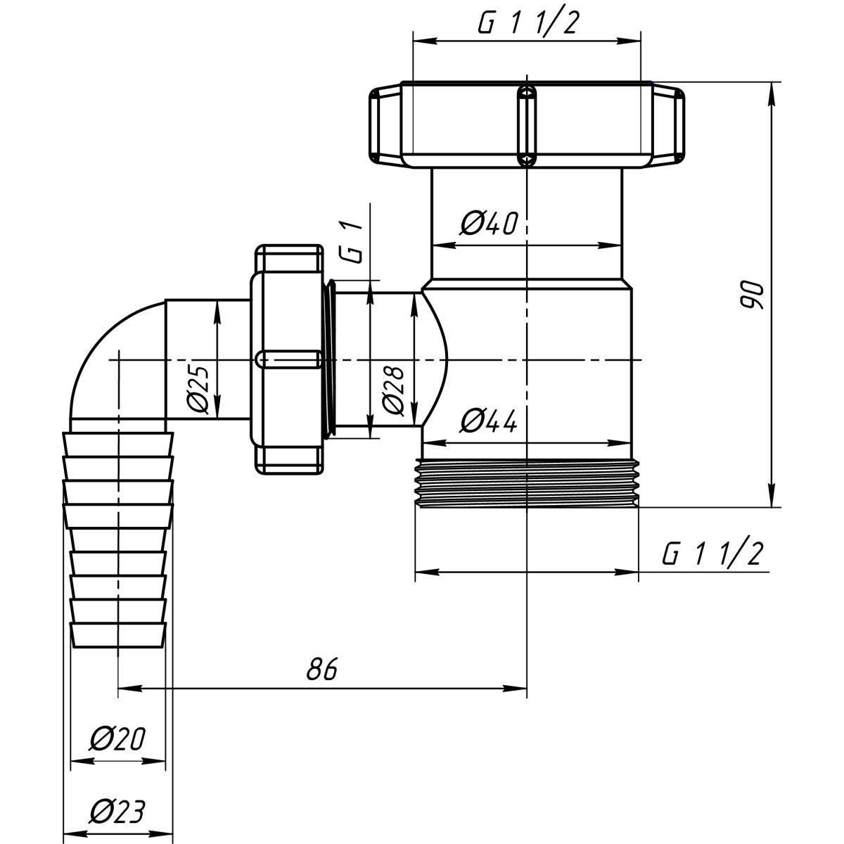 """Siphon Sifon 1 1/2""""x1 1/2"""" Rückschlagventil Waschmaschine mit Geräteanschluss,Ani Plast,M110EU, 4779037101887"""