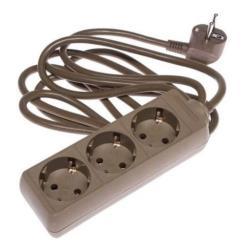 Stromleiste Mehrfachsteckdose 3-fach 3m braun Verteiler Steckdosenleiste