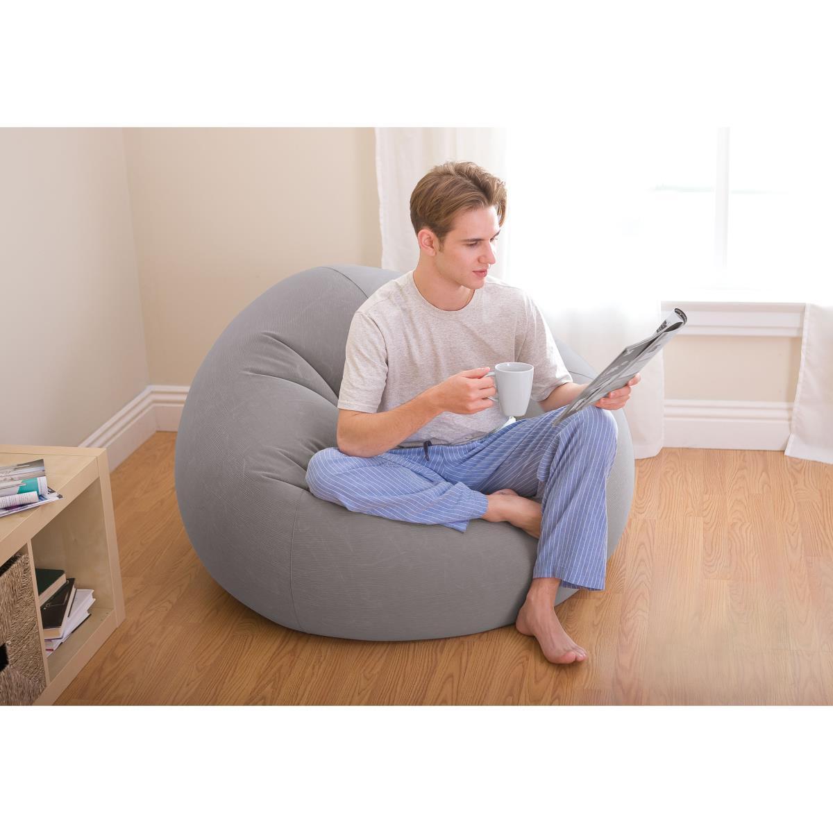Intex Beanless Bag Chair Sitzsack aufblasbar 114x114x71 cm grau Aufblasmöbel,Intex ,68579NP, 6941057402758
