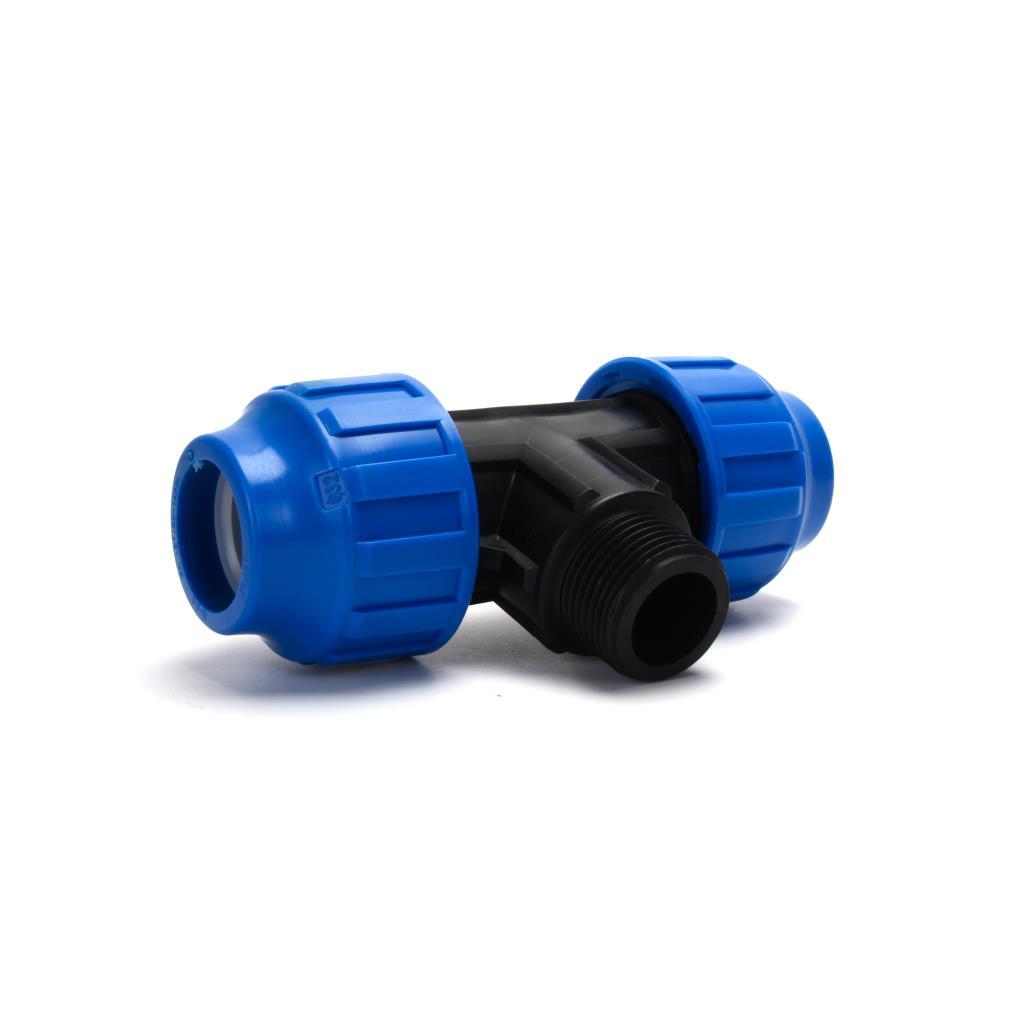 """PP Klemmfitting Rohr Verschraubung Trinkwasser DVGW T-Stück Ø32 xAG 1"""" xØ32,STP,711032, 8435006801061"""