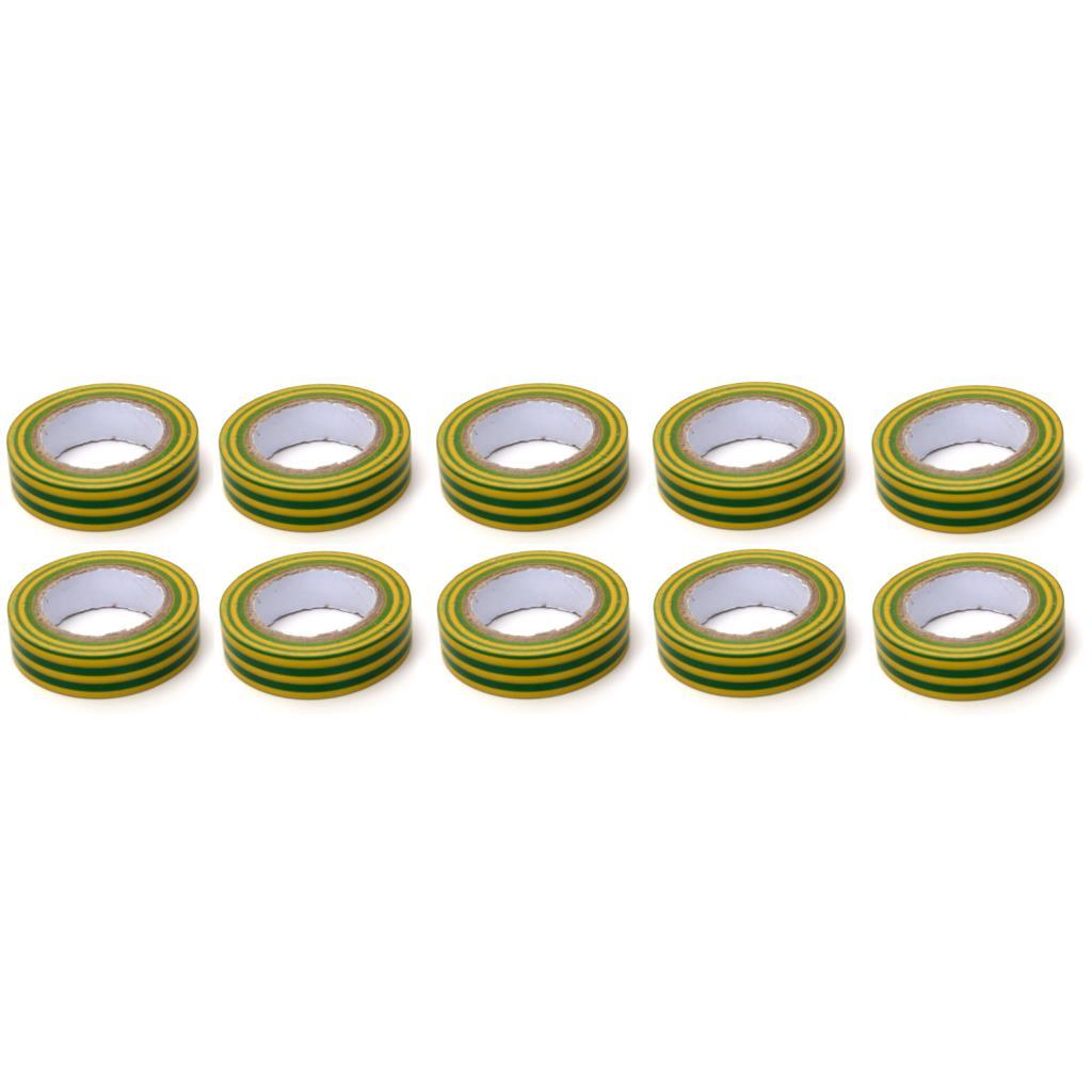 10x Elektriker Klebeband Isolierband Isoband - Grün - Gelb15mm x 10m,OKKO,IZOGREENYELLOW, 4770364201011