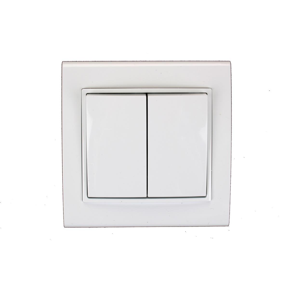 Unterputz Doppel Zweifach Lichtschalter weiß 10 A, 230 V,OKKO,9209-02, 4772013048503