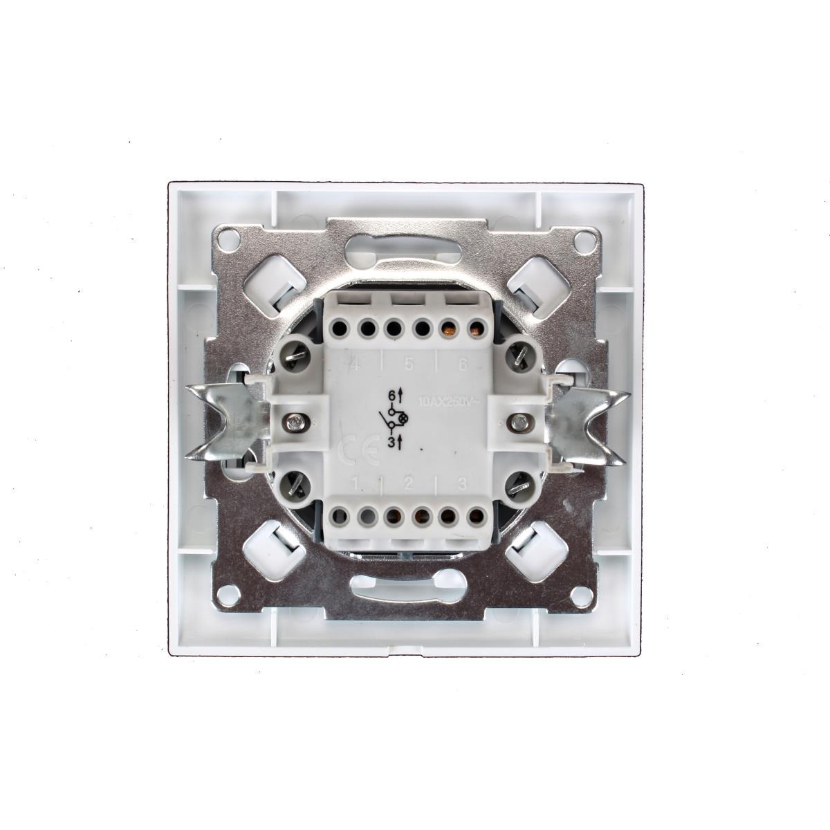 Unterputz Lichtschalter beleuchtet weiß 10 A, 230 V,OKKO,9209-01N, 4772013048558