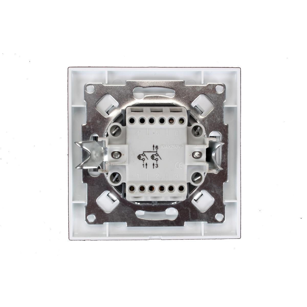 Unterputz Serienschalter beleuchtet weiß 10A, Doppel Zweifach Lichtschalter ,OKKO,9209-02N, 4772013048565