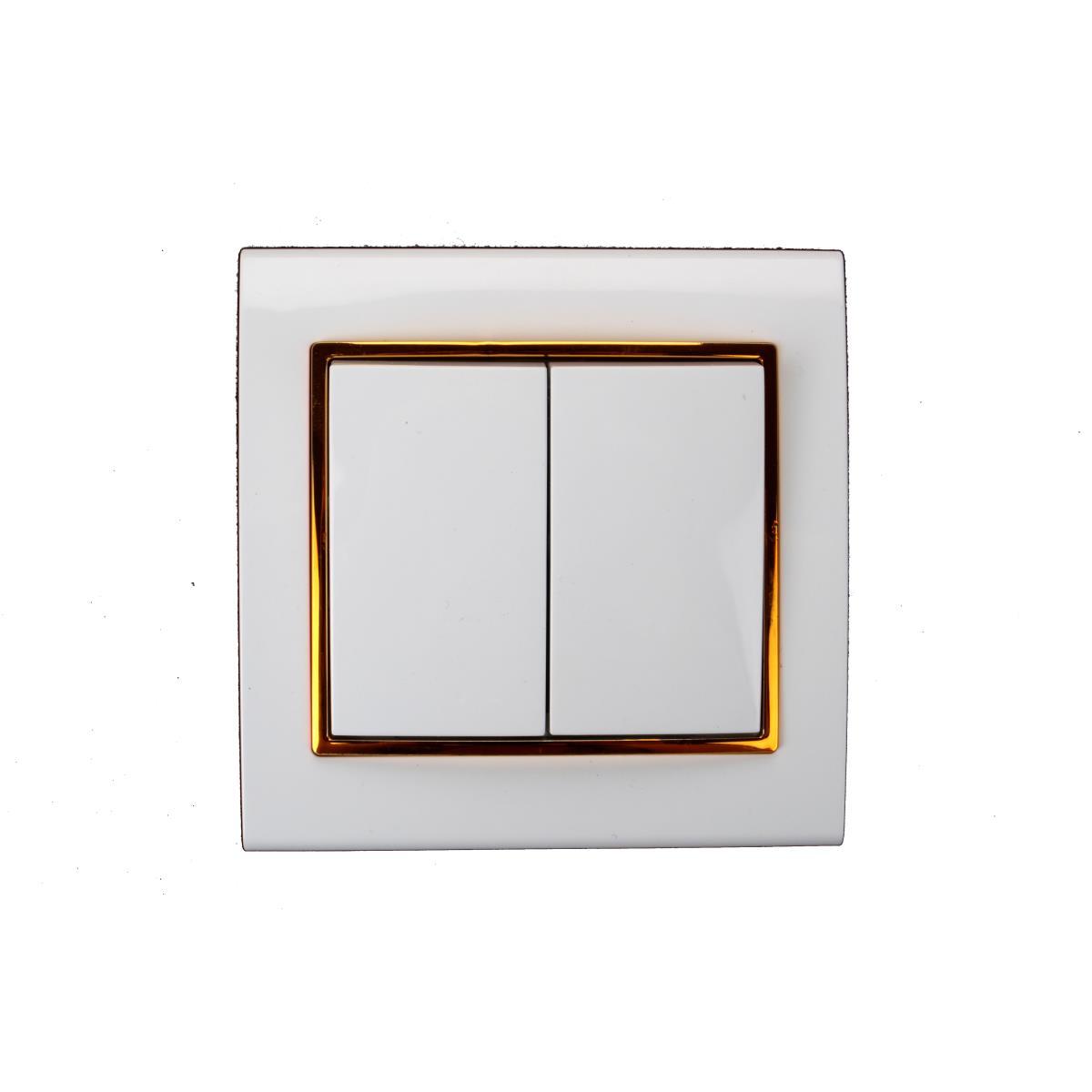 Unterputz Doppel Zweifach Lichtschalter Farbe weiß/gold 10A, 230V Serienschalter,OKKO,9209-02-G, 4772013048527