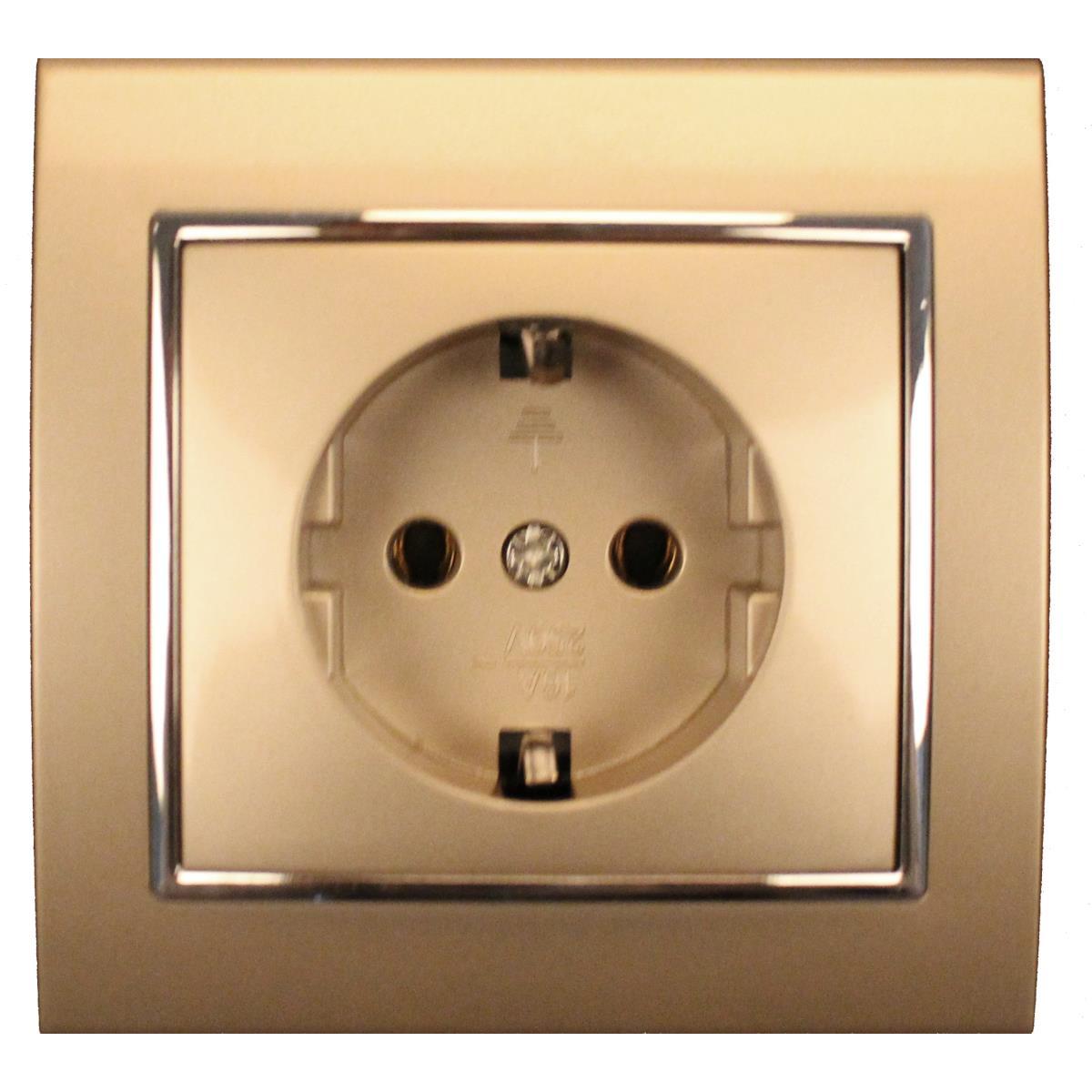 steckdose mit schutzkontakt farbe champagner silber ip20. Black Bedroom Furniture Sets. Home Design Ideas