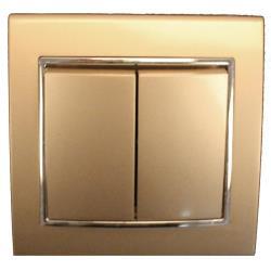Unterputz Doppel Zweifach Lichtschalter Farbe champagner/silber 10A, 230 V,OKKO,9209-02-C, 4772013048541