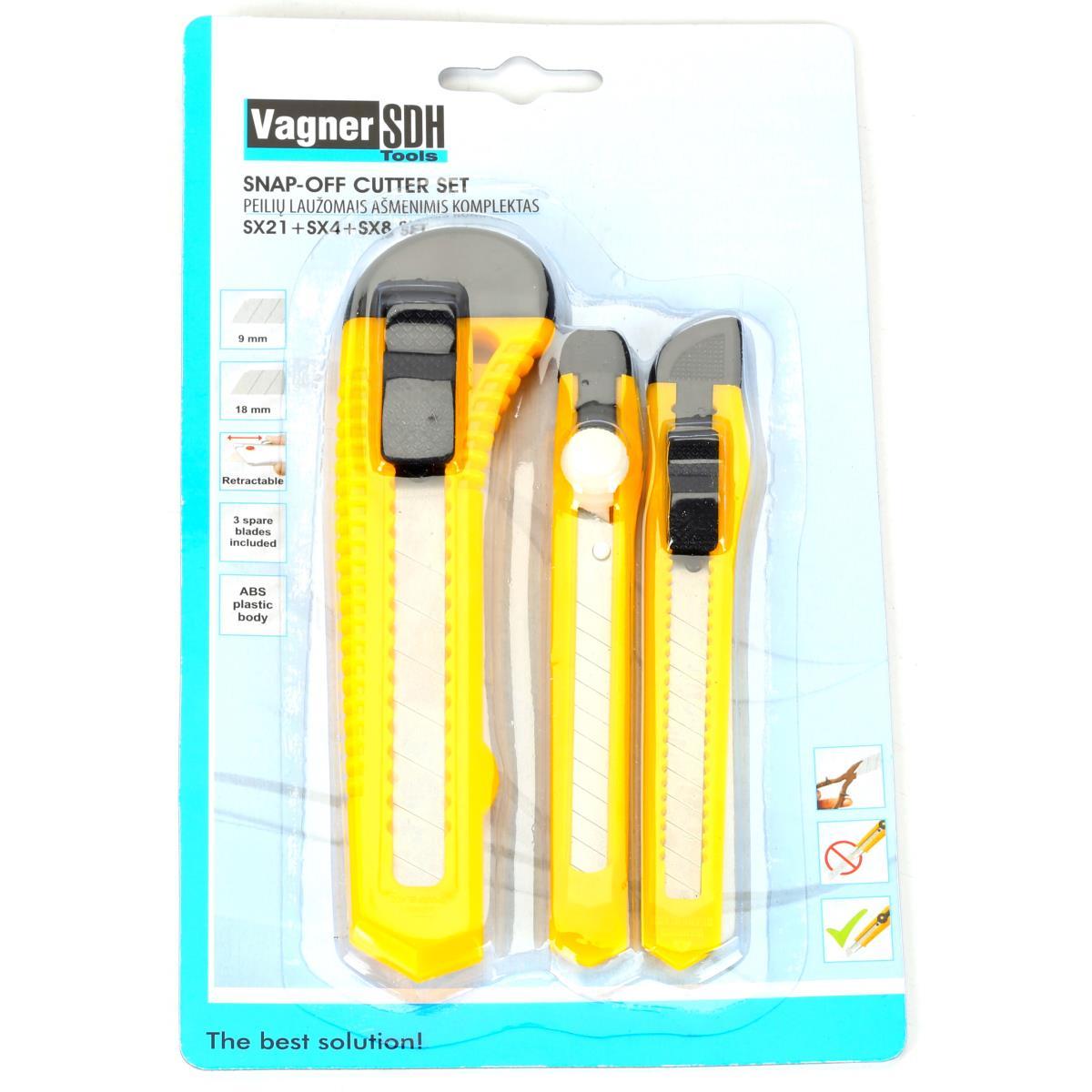 Dreiteiliger Cuttermesser Set Teppichmesser 9 mm und 18 mm,Vagner SDH,2000510705813, 2000510705813