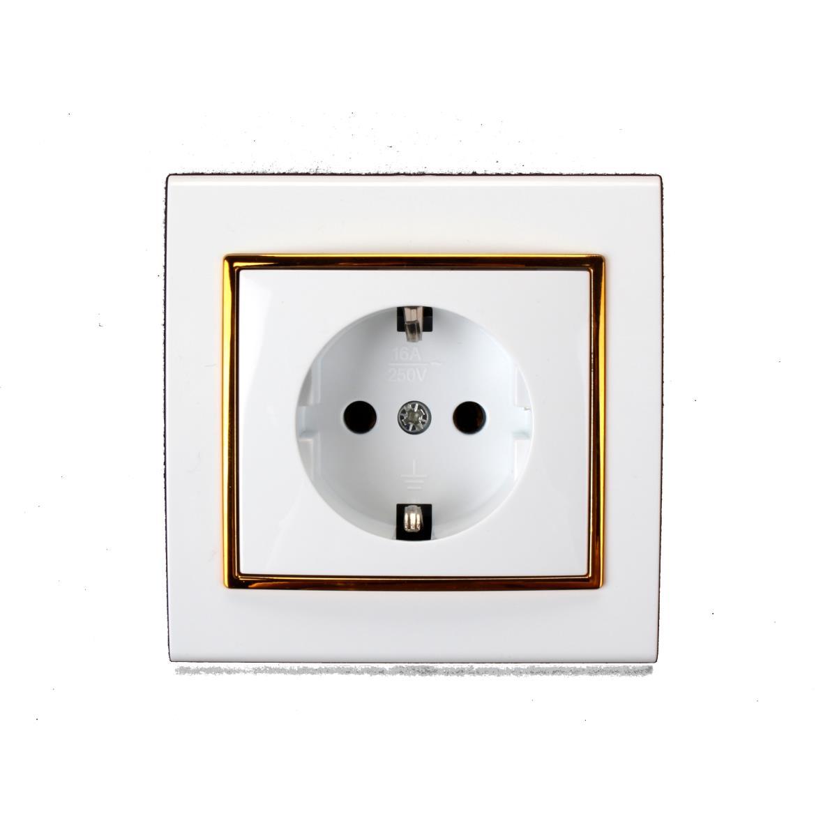 lichtschalter serienschalter dimmer steckdose farbe wei gold ebay. Black Bedroom Furniture Sets. Home Design Ideas